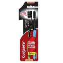 Kit c/2 Escovas Dentais Colgate Slim Soft Black Suave Macia