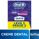 Kit 3x70g Cremes Dentais Oral-B 3D White Brilliant Fresh