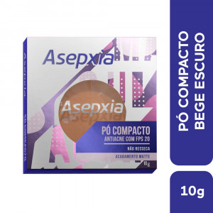 Asepxia Maquiagem Pó Compacto Antiacne Bege Escuro FPS20 10g