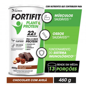FORTIFIT Plant-Protein Chocolate com Avelã Lata 460g