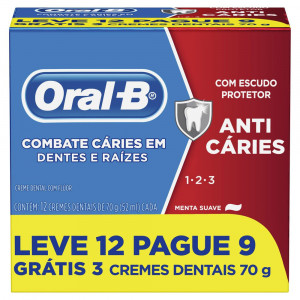 Kit 12x70g Creme Dental Oral-B 123 Anticáries Menta Suave
