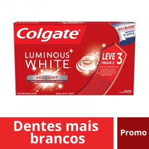 Kit Com 3 Cremes Dentais Colgate Luminous White 70g