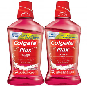 Kit 2x500mL Enxaguante Bucal Colgate Plax Class Anticárie