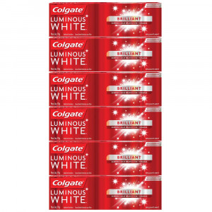 Kit 6x70g Creme Dental Colgate Luminous White Brilliant Mint