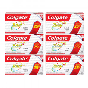 Kit 6x90g Cr Dental Colgate Total 12 Clean Mint c/2 Bisnagas