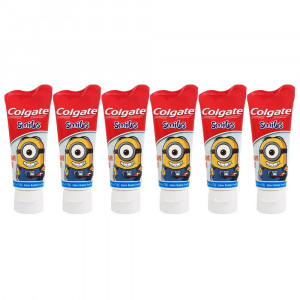 Kit 6x100g Gel Dental Infantil Colgate Smiles Minions