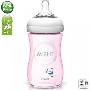 Mamadeira Philips Avent Rosa c/Flores 260mL Pétala 1m+