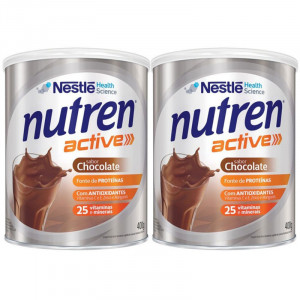 Kit 2x400g NUTREN ACTIVE Chocolate Suplemento Alimentar